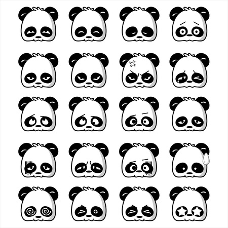 cartoon panda: Illustration of cute panda expression
