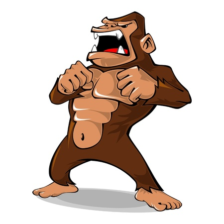Illustration of angry gorilla, it can be used as a mascot for fitness company, sport company, and any related business  Çizim