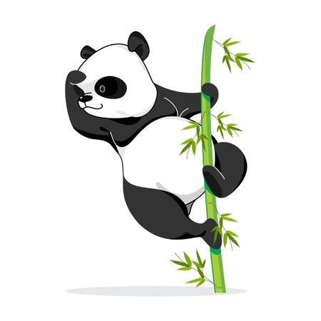 Illustration of panda pose, it climbing a bamboo to see something