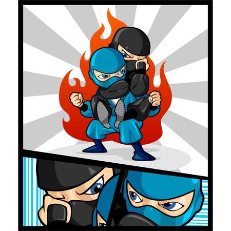 ninja: Illustration der beiden Ninjas, dass der Kampf, als Maskottchen f�r Kampfkunst verwendet werden kann, ideal f�r Poster, T-Shirt, und andere