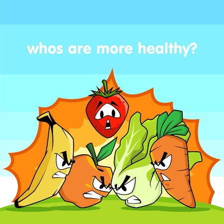 War or fight illustration between fruits and vegetables to know whos are the best for health, it can be used as mascot, great for poster, t-shirt, ads for health, restaurant, and other