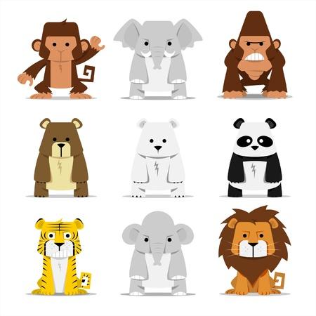 gorilla: Ilustraci�n conjunto de los mam�feros lindos, la ilustraci�n es muy amable para los ni�os o los ni�os Vectores