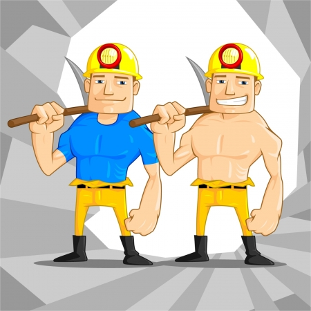 crowbar: Illustration of two mine worker in the tunnel  Illustration