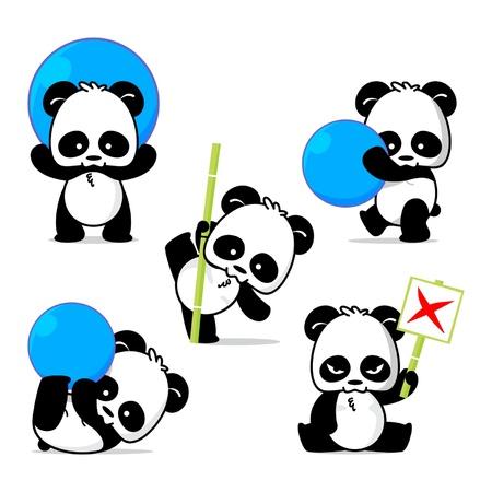 oso panda: Ilustración de lindo panda plantea Vectores