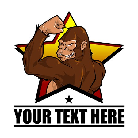 gorila: Illustration of Smiling gorilla that have muscled arm, showing his power and how strong he is, with star behind it as the background. It can be used as a mascot or illustration for fitness company, sports company, masculine organization and other business