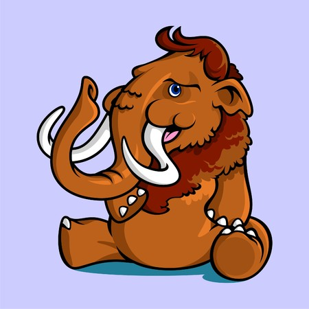 Illustration of smiling young mammoth that sitting on the ground, it can be used as a mascot.
