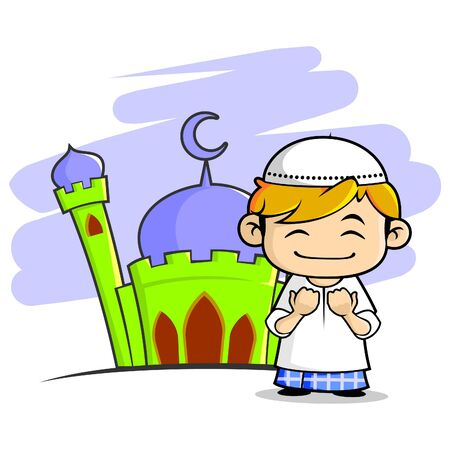 Illustration of smiling moslem boy that raise his hands to pray in front of mosque.