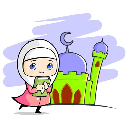 Illustration of smiling moslem girl that holding and hug a book in front of mosque.