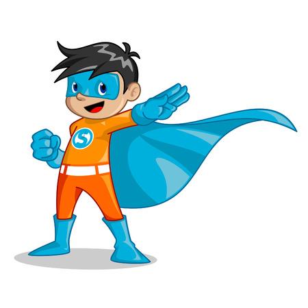 Ilustración del muchacho que ser el superhéroe que puede ser utilizado como una mascota de compañía de educación para la organización de los niños para el niño y cualquier otro negocio.