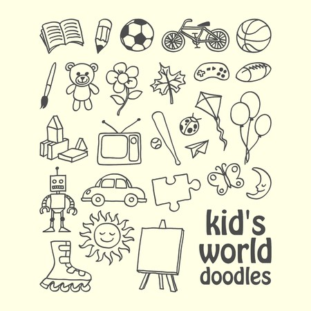 World of kids doodles set vector