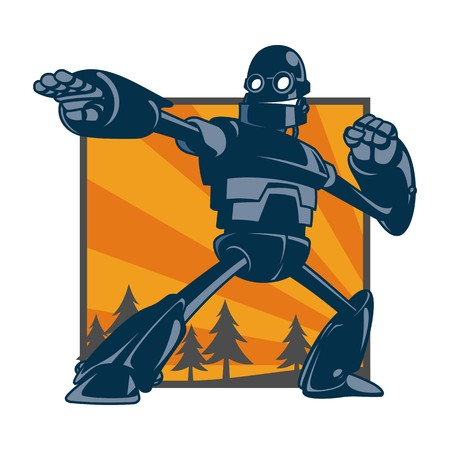 Ilustración de vector de robot gigante