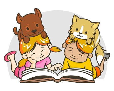 Illustration of kids (boy and girl) with their pets (dog and cat) are reading book together