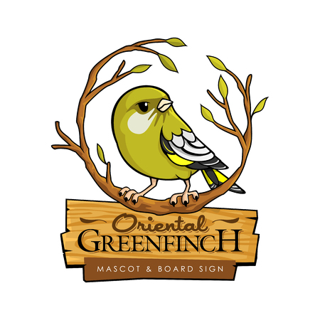 Vector illustration of cute cartoon oriental greenfinch sitting on the branch Ilustração