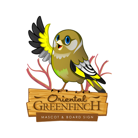Vector illustration of cute cartoon oriental greenfinch sitting on the branch Ilustração