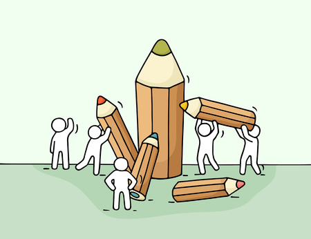 Sketch of little people with pencils. Doodle cute miniature with workers and stationery. Illustration