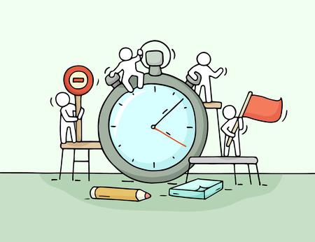 Schets van stopwatch met werkende kleine mensen. Doodle schattige miniatuur teamwork over deadline. Hand getekende cartoon Stockfoto - 60163891