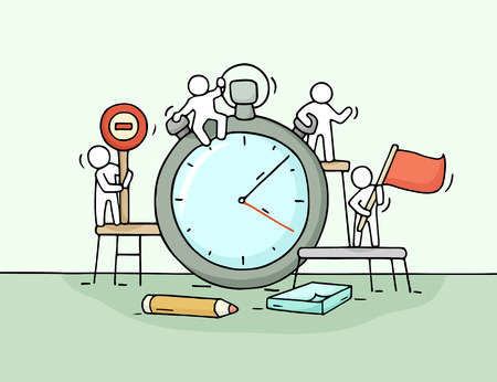 Sketch of stopwatch with working little people. Doodle cute miniature teamwork about deadline. Hand drawn cartoon