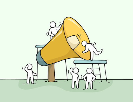 Sketch of working little people with big loudspeaker. Doodle cute miniature scene of workers with megaphone. Illustration