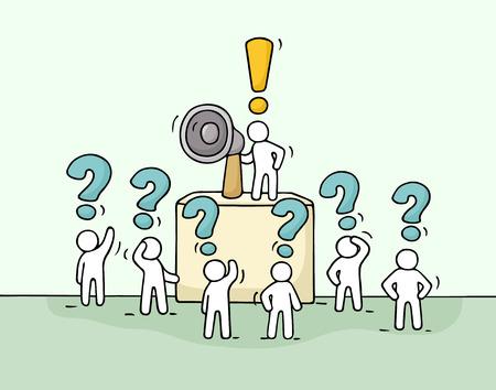 質問を持つほとんどの人々 の群衆をスケッチします。リーダー · トリビューンとメガホンでかわいいミニチュアを落書き。  イラスト・ベクター素材