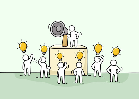 idea sketch: Sketch crowd of little people with lamp idea. Doodle cute miniature with leader on the tribune and megaphone. Hand drawn cartoon vector illustration for business design. Illustration