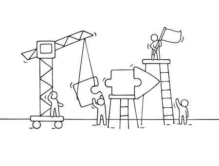 line work: Sketch of working little people with arrow, teamwork. Doodle cute miniature scene of workers collect puzzle pieces. Hand drawn cartoon vector illustration for business design and infographic.