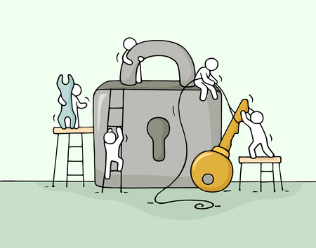 Sketch of working little people with lock, teamwork. Doodle cute miniature scene of workers about security. Hand drawn cartoon vector illustration for business design.