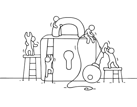 metaphoric: Sketch of working little people with lock, teamwork. Doodle cute miniature scene of workers about security. Hand drawn cartoon vector illustration for business design.