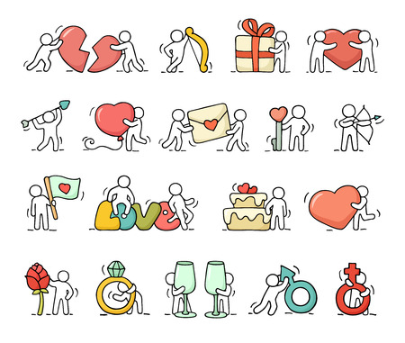 set symbols: Cartoon romantic icons set of sketch working little people with love symbols. Doodle cute miniature scenes of workers with hearts, arrows. Hand drawn vector illustration for valentine day design and wedding celebration. Illustration