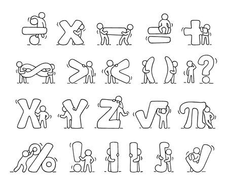 Iconos de dibujos animados Conjunto de pequeños croquis personas que trabajan con símbolos matemáticos. Cuco escenas en miniatura de los trabajadores con signos de álgebra. ilustración vectorial de dibujado a mano para el diseño de la escuela y la infografía.