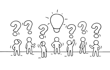 interrogative: Sketch - crowd of working little people with question sings and lamp idea. Doodle cute miniature teamwork find right decision. Hand drawn cartoon vector illustration for business design. Illustration