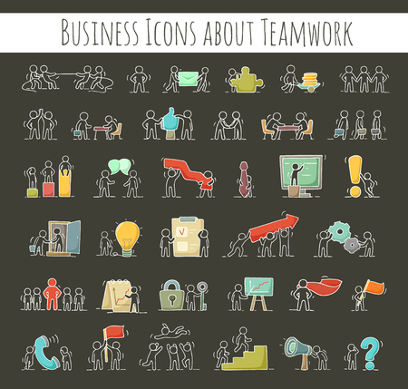 Business icons set of sketch working little people with gear, arrow. Doodle cute miniature scenes of workers. Hand drawn cartoon vector illustration for business design and infographic.