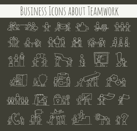 workgroup: Business icons set of sketch working little people with gear, arrow. Doodle cute miniature scenes of workers. Hand drawn cartoon vector illustration for business design and infographic.