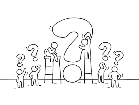 solve problem: Sketch of working little people with big question. Doodle cute miniature scene of workers trying to solve problem. Hand drawn cartoon vector illustration for business design. Illustration