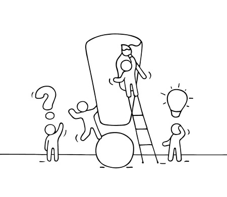 solve problem: Sketch of working little people with big exclamation sign. Doodle cute miniature scene of workers trying to solve problem. Hand drawn cartoon vector illustration for business design. Illustration