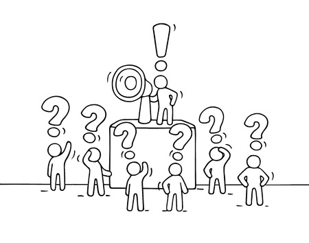 tribune: Sketch crowd of little people with questions. Doodle cute miniature with leader on the tribune and megaphone. Hand drawn cartoon vector illustration for business design. Illustration