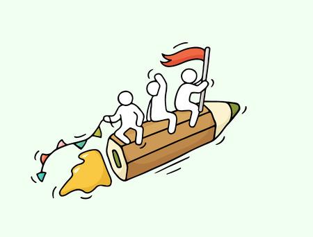Croquis de travailler peu de personnes avec un crayon volant. Doodle scène miniature mignon des travailleurs. Tiré par la main de bande dessinée illustration vectorielle pour la conception d'affaires et l'école. Banque d'images - 61658612
