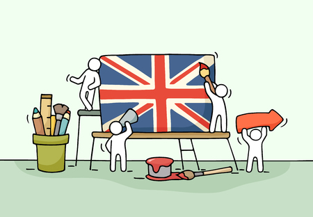 Sketch of working little people with british flag. Doodle cute miniature scene of workers with Union Jack. Hand drawn cartoon vector illustration for  design and infographic.