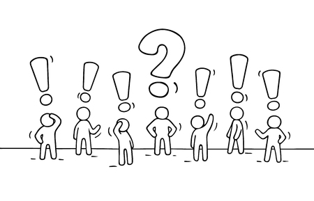 interrogative: Sketch - crowd of working little people with question sign and exclamation point. Doodle cute miniature teamwork find right decision. Hand drawn cartoon vector illustration for business design.