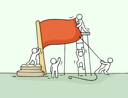 attainment: Sketch of working little people with red flag. Doodle cute miniature teamwork with flag nstallation. Hand drawn cartoon vector illustration for business design.