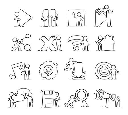 media buttons: Multimedia icons set with working little people. Doodle cute miniature scenes of workers with buttons. Hand drawn cartoon vector illustration for media buttons.