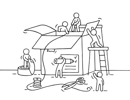 Sketch of working little people with package. Doodle cute miniature of teamwork and post. Hand drawn cartoon vector illustration for business design and infographic. Иллюстрация
