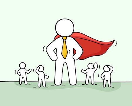 Esquisse de petits travailleurs et de super-héros. Doodle concept mignon sur le travail d'équipe avec leader. Illustration vectorielle de caricature dessinée à la main pour la conception de l'entreprise. Banque d'images - 63714501