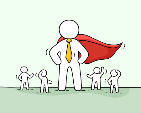 about: Sketch of working little people and big superhero. Doodle cute concept about teamwork with leader. Hand drawn cartoon vector illustration for business design.