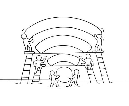 Schets van het werken van kleine mensen met een netwerk signaal. Krabbel schattig miniatuur teamwerk maak goed wifi signaal. Hand getekende cartoon vector illustratie voor zakelijk ontwerp.