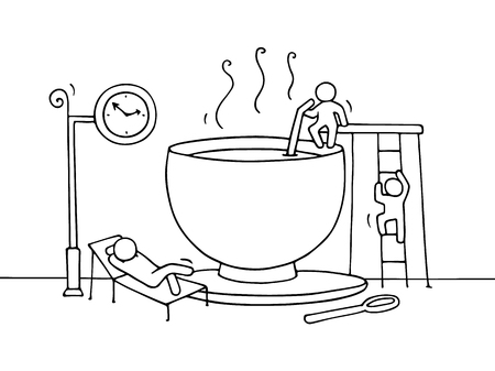 Sketch of resting little people cup of cofee. Doodle cute miniature about break at work . Hand drawn cartoon vector illustration for business design and infographic.