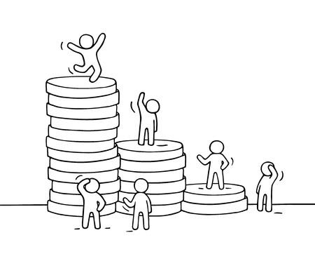 Schets van het werken weinig mensen met een stapel munten. Doodle schattige mini-scene van de werknemers. Hand getekende cartoon vector illustratie voor business design en financiën. Vector Illustratie