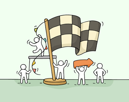 euphoria: Sketch of working little people with finish flag, teamwork. Doodle cute miniature scene of workers celebrate victory. Hand drawn cartoon vector illustration for business concept.