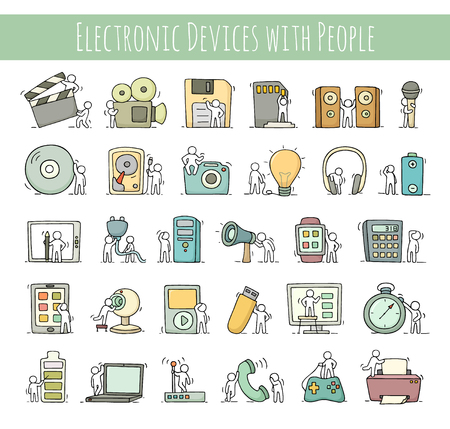 Electronic icons set of sketch working little people with computer, camera. Doodle cute miniature scenes of workers with gadgets. Hand drawn cartoon vector illustration for business design and infographic.