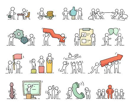 Zakelijke iconen set van schets werken weinig mensen met een versnelling, pijl. Doodle schattige miniatuurscènes van werknemers. Hand getekende cartoon vector illustratie voor business design en infographic.