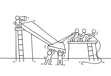 sketch out: Sketch of working little people with arrow down, teamwork. Doodle cute miniature arrow and prepare out of the crisis. Hand drawn cartoon vector illustration for business design and infographic.